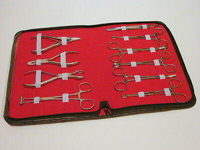 Kit 10 Pro Body Ear Tongue Navel Piercing Forceps Pliers Clamps Tools *New*