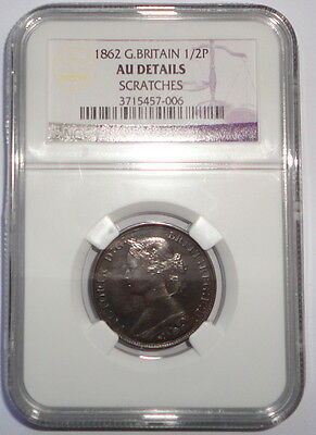 Great Britain Uk Coin 1/2 Penny 1862 Ngc Au Details