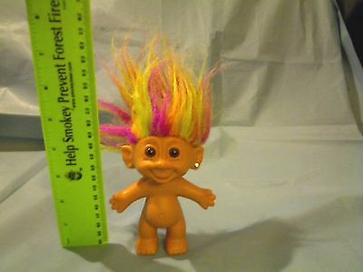 """BRIGHT OF AMERICA 5"""" TROLL WITH MULTI-COLOR HAIR & JEWEL IN LEFT EAR"""