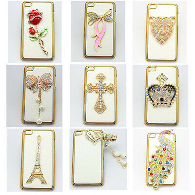 1x 3D bling BOW peacock leather diamond back hard case cover for ipod touch 4 5