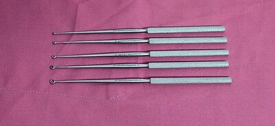 OR Grade Set Of 5 Buck Ear Curettes Sharp Curved Ent Surgical Instruments