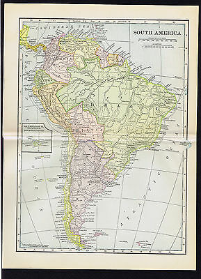 South America - ANTIQUE COLOR MAP 1904 -  Century+ Old