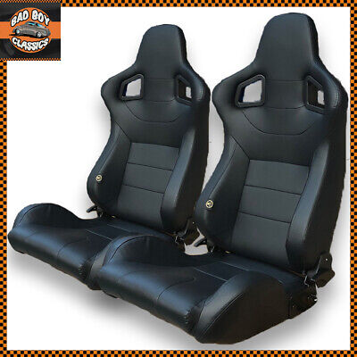 Pair Universal Design BB6 Reclining Titling Bucket Sports Racing Seats Black