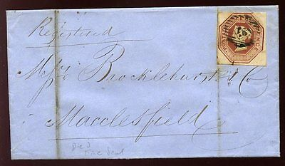 QV 1854 Registered London to Macclesfield cover solo 4 margin 10d EMBOSSED