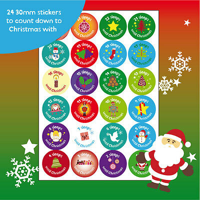 24 30mm Christmas countdown stickers Xmas labels kids children festive santa