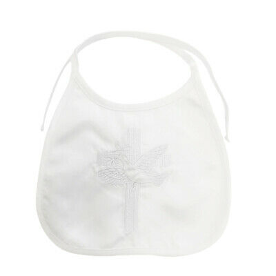 NEW Baby Christening Baptism Bibs Satin White or IVORY - Dove Embroidered