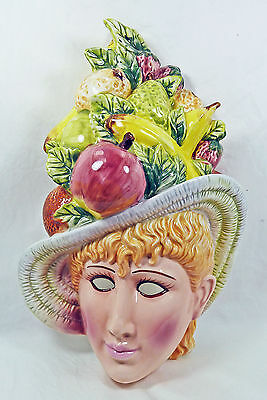 Ceramic Ladys Face Fruit Hat Mask Wall Plaque Vintage Banana Apple Pear Majolica
