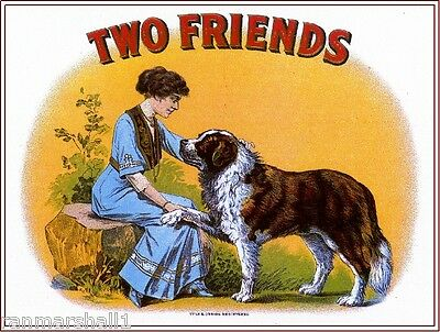 1919 Two Friends Saint Bernard Dog Vintage Cigar Tobacco Box Crate Label Print
