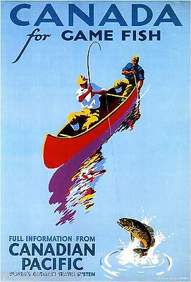 Gamefish Pacific Vintage Canada Canadian Travel Advertisement Art Poster