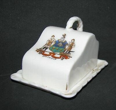 Crested China miniature CHEESE DOME/COVER & PLATE, SHEFFIELD