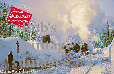 Milwaukee Road Hiawatha Steam Poster Snoqualine Pass CMSP 1920 Railroad  Print