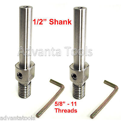 "2PK Dry Core Bit Adapter: Convert 5/8""-11 Arbor to 1/2"" Shank for Electric Drill"