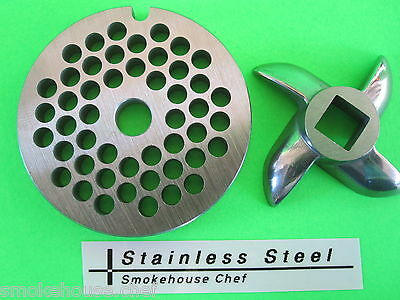 """Size #5 x 3/16"""" meat grinder PLATE & KNIFE for manual or electric fits LEM etc"""