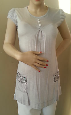 Gray Maternity Top Blouse Tee New Print Buttons Casual Slim Faux Pocket S M L XL