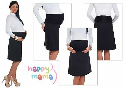Black Work & Office Casual Lined Skirt Thick Fabric Adjustable Panel UK 6-18 845