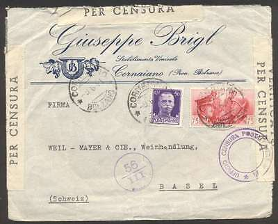 Italy To Switzerland Triple Censor Cover 1941 w 2 Stamps L@@K