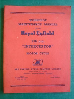 ROYAL ENFIELD 736cc INTERCEPTOR - Motorcycle Workshop Manual - c1969