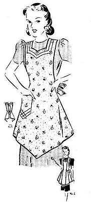 New Pellon Easy Pattern Vintage Mail Order Apron One Main Body Piece