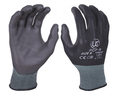 PU Palm Coated Precision Protective Safety Work Gloves - Multi Purpose BLACK