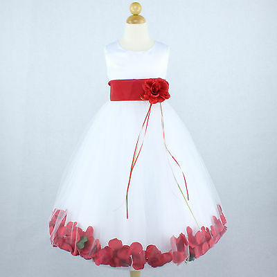 WHITE RED Flower Girl Dress Petals Dance Birthday Formal Gown Wedding Party Prom