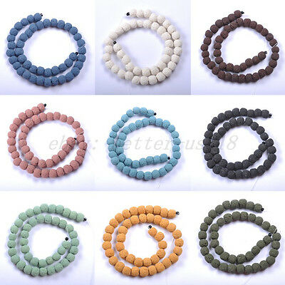 "16"" 8/10/12/14/16MM Natural Volcanic Lava Gemstone Round Ball Spacer Beads Pick"