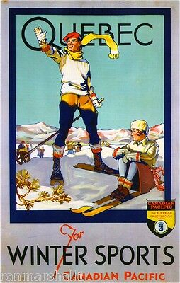 Quebec for Winter Sports Cruise Canada Canadian Travel Advertisement Poster