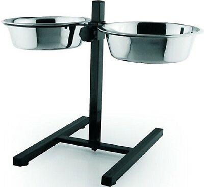 RAISED TWIN BOWLS -  Stainless Steel Bowl Dog Cat Pet Food Water Feed kf Feeder