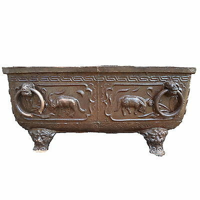 19th c  Chinese Cast Iron  Jardinere Planter Bathtub