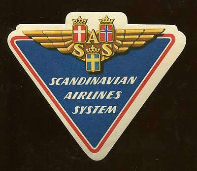 Scandinavian Airlines System Die Cut Luggage Label