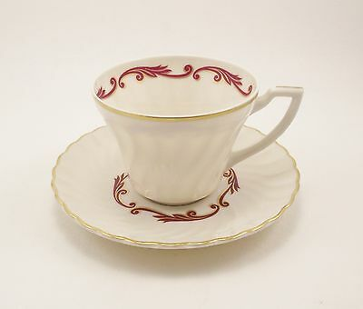 Syracuse China Baroque Maroon Cup & Saucer  (%)