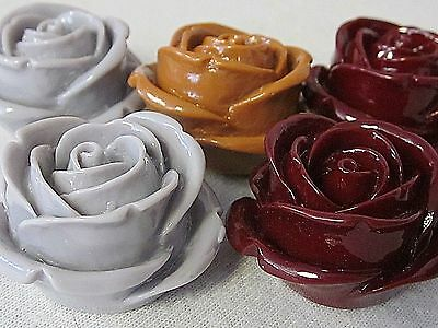 5 VTG PLASTIC ROSE Craft FLOWERS 36x35x20mm FLATBACKS CABOCHONS JEWELRY DESIGN