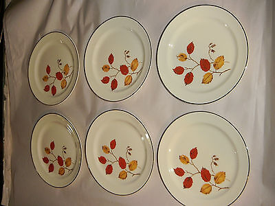 SET OF 6 VINTAGE TAYLOR SMITH TAYLOR AUTUMN LEAVES LUNCH PLATES RED & GOLD MINT