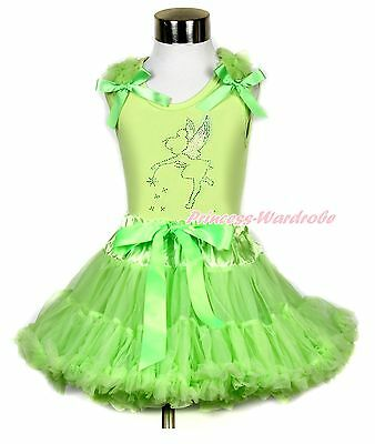 Sparkle Rhinestone Tinker Bell Fairy Lime Green Top Lime Geen Girl Skirt 1-8Year