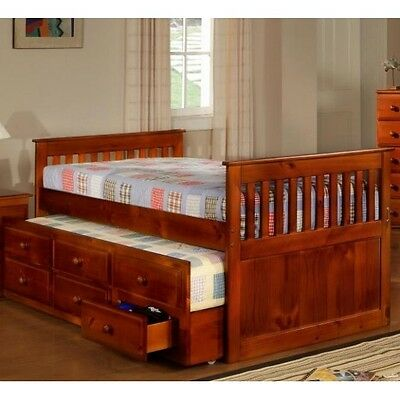 FULL SIZE DARK OAK Solid Wood Captain's Bed w/Trundle & Storage - HOUSTON ONLY!