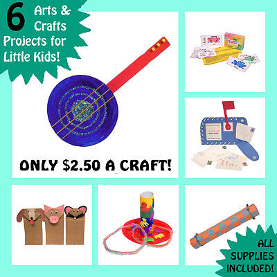 6 Preschooler Arts and Crafts Kits - Simple Childrens Play - For Boy Girl Child
