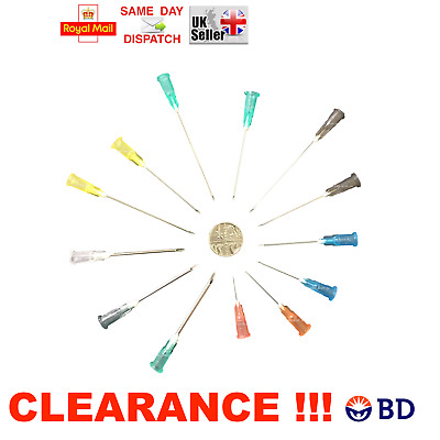 +10% FREE !!! 100 200 300x BD NEEDLES STERILE CYCLE BLUE GREEN ORANGE PINK 23G