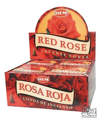 "Hem Bulklot-12 Packets / 120 Cones ""Red Rose"" Incense Cones Free Postage."
