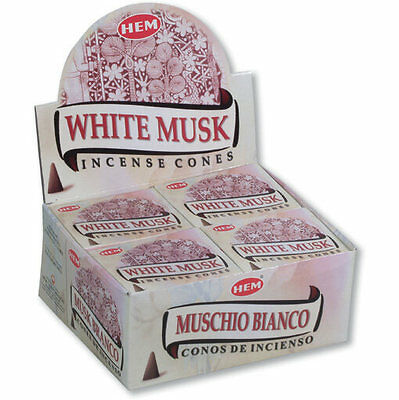 """Hem Bulklot-12 Packets / 120 Cones """"White Musk"""" Incense Cones Free Postage"""