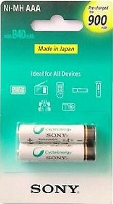 2 X PILAS RECARGABLES SONY 900 MAH NiMH AAA LR3 LR03 MN2400 MINI STILO BATTERY