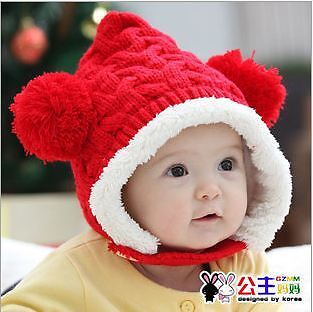 NEW winter Cute lovely Kids Baby Child Ball PomPom Knitted Beret Cap Hat 2 color