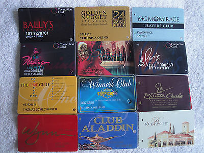 12 USED CASINO LAS VEGAS NV PLAYERS CLUB CARD MGM BALLY'S FLAMINGO PARIS WYNN B