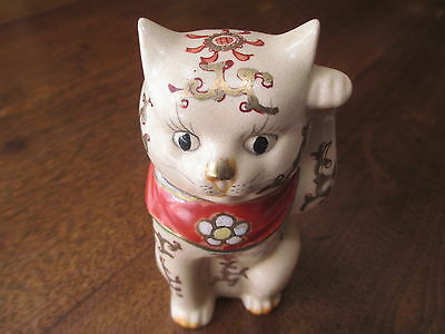 "Antique Japanese Porcelain Old Imari/Kutani Maneki Neko ""Beckoning Cat"" Marked"