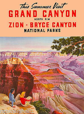 1930s Grand Canyon, Zion Parks Bryce Canyon Vintage Travel Advertisement Poster