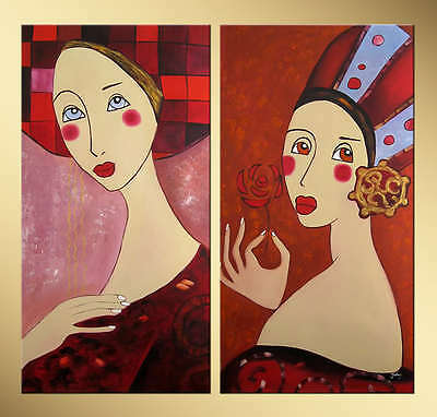 Yuhong Gorgeous Girls hand painted Abstract oil painting bestbid_mall D924