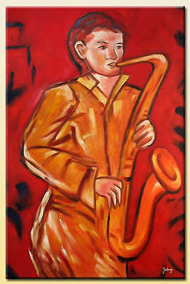 Yuhong Sax Man hand painted abstract oil painting bestbid_mall D621