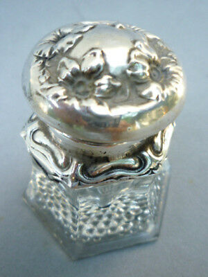 Antique  Art' Nouveau Inkwell Silver Plated & Glass