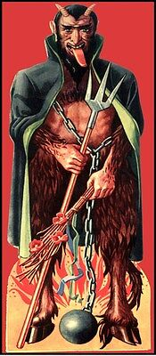 Halloween Die-Cut Devil In Chains 1930's Vintage Reproduction Poster