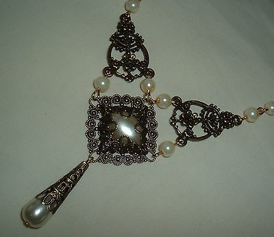 Tudor Gothic Pearl Filigree Drop Necklace Renaissance Larp Sca