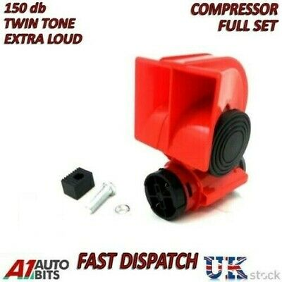 Twin Dual Tone Compact Air Loud Horn 24V Compressor Red Truck Car Bus Van NEW