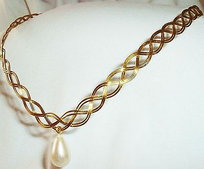 Gold Celtic/Elven Circlet With Pearl -  Alternative To A Tiara Sca Renaissance